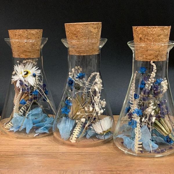 Erlenmeyer en fleurs séchées